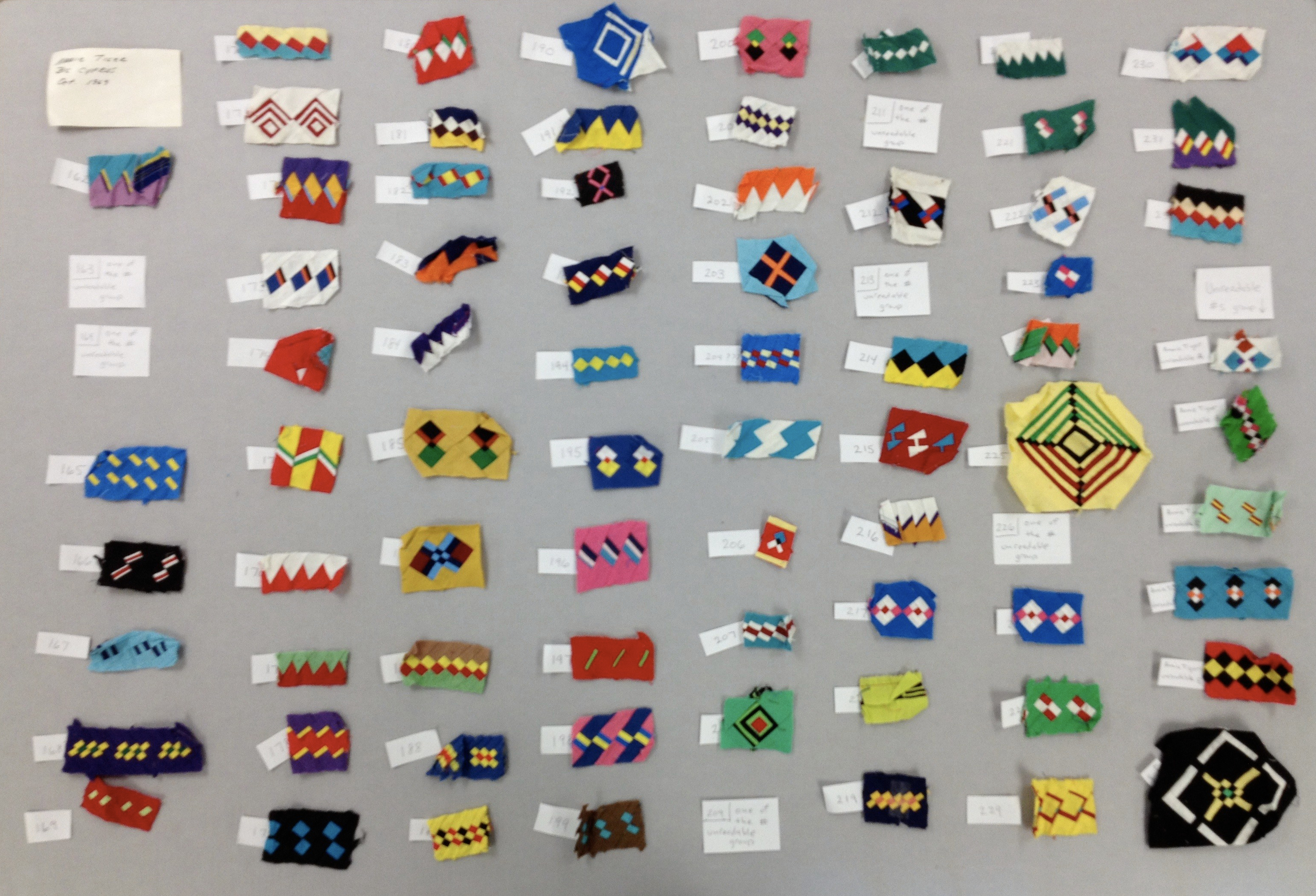 A array of small pieces of Florida Seminole patchwork in many colors and designs.