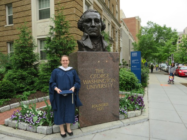 A photograph of Jessica Richardson Smith graduating with an MA in anthropology from The George Washington University.