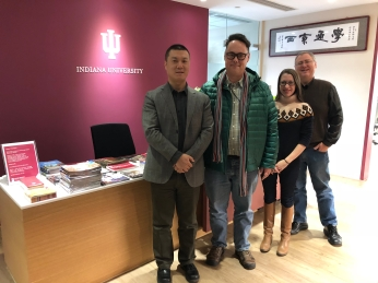 (L-R) Indiana University China Gateway Director Steven Yin hosted Jason Jackson (MMWC), Carrie Hertz (MoIFA), and Jon Kay (MMWC) at the China gateway office in Beijing. December 8, 2017.
