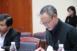 Director Wang Wei at the project planning meeting. December 12, 2017. Photograph by Jon Kay.