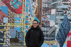 Carrie Hertz and a new-to-us mural in 798. December 9, 2017. Photograph by Jason Baird Jackson.