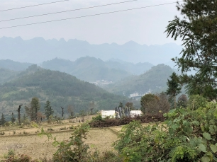 The Baiku Yao countryside as seen on the walk to the Lihu town market. December 16, 2017. Photograph by Jason Baird Jackson.