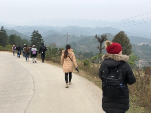 Members of our group on the walk to the Lihu town market. December 16, 2017. Photograph by Jason Baird Jackson.