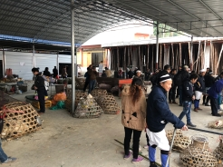 The portion of Lihu's town market where domestic animals are bought and sold, usually in basketry cages. December 16, 2017. Photograph by Jason Baird Jackson.