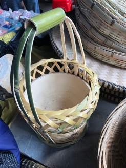 A brazier basket on available for sale in the Lihu town market. December 16, 2017. Photograph by Jason Baird Jackson.